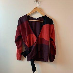 Nic + Zoe Maroon Shades Wrap Sweater